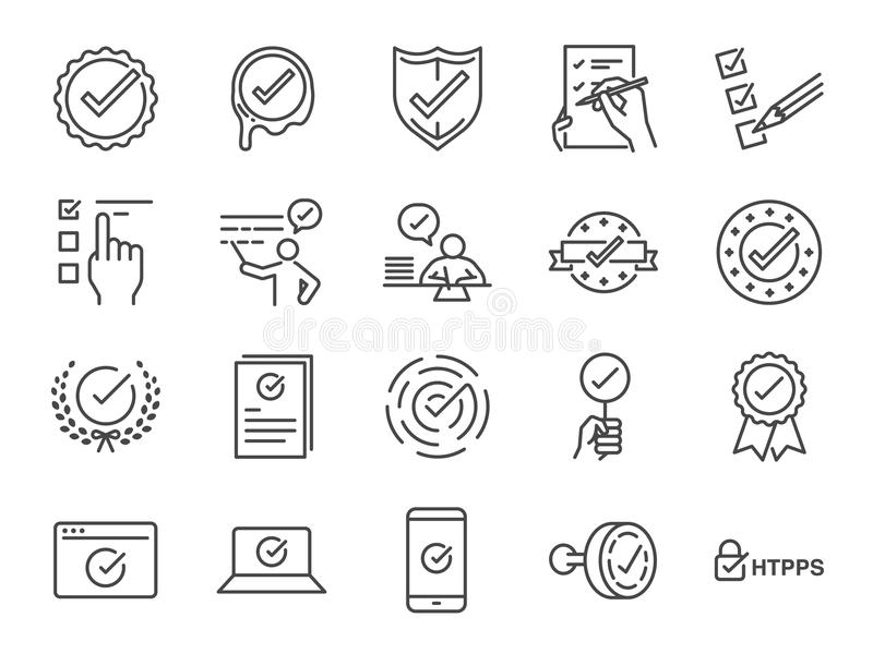 Check mark icon set. Included the icons as correct, verified, certificate, approval, accepted, confirm, check List and more royalty free illustration