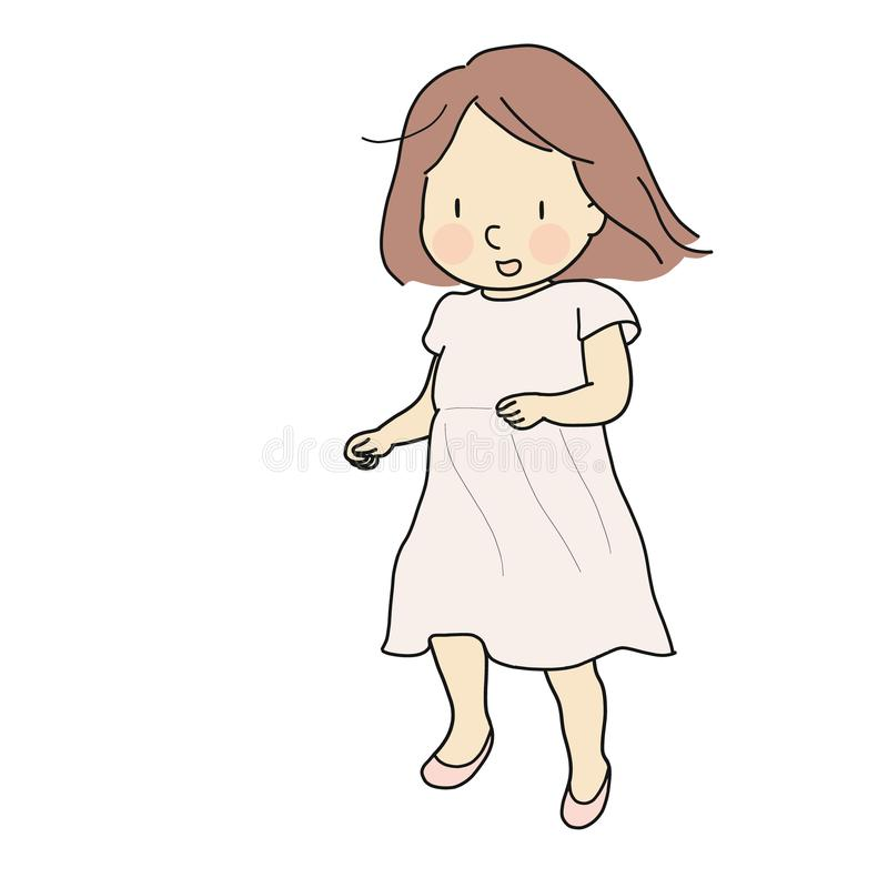 Vector illustration of cheerful girl running and smiling. Early childhood development activity, happy children day card stock illustration