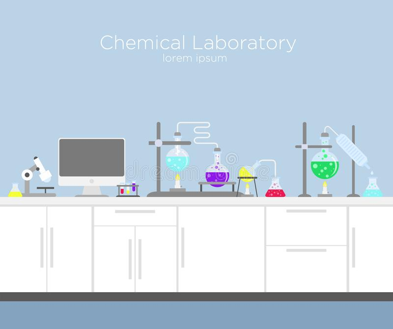 Vector illustration of chemical laboratory. Chemistry infographic s with various chemical solutions and reactions. Computer and different tools in flat cartoon royalty free illustration
