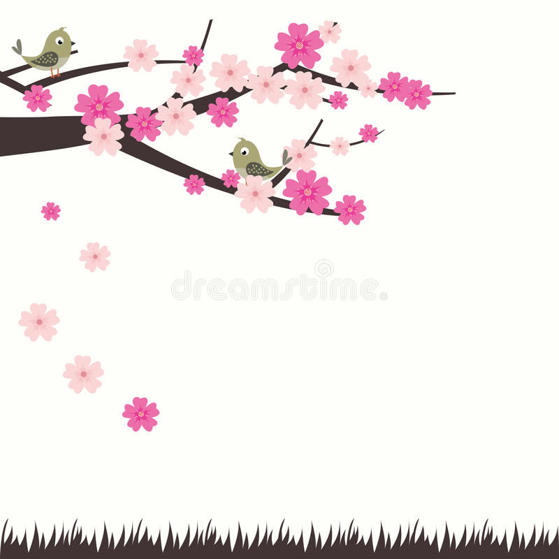 Vector Illustration Cherry Blossom With Bird royalty free illustration