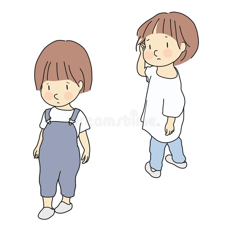Vector illustration of child conflict. Relationship, siblings.  stock illustration