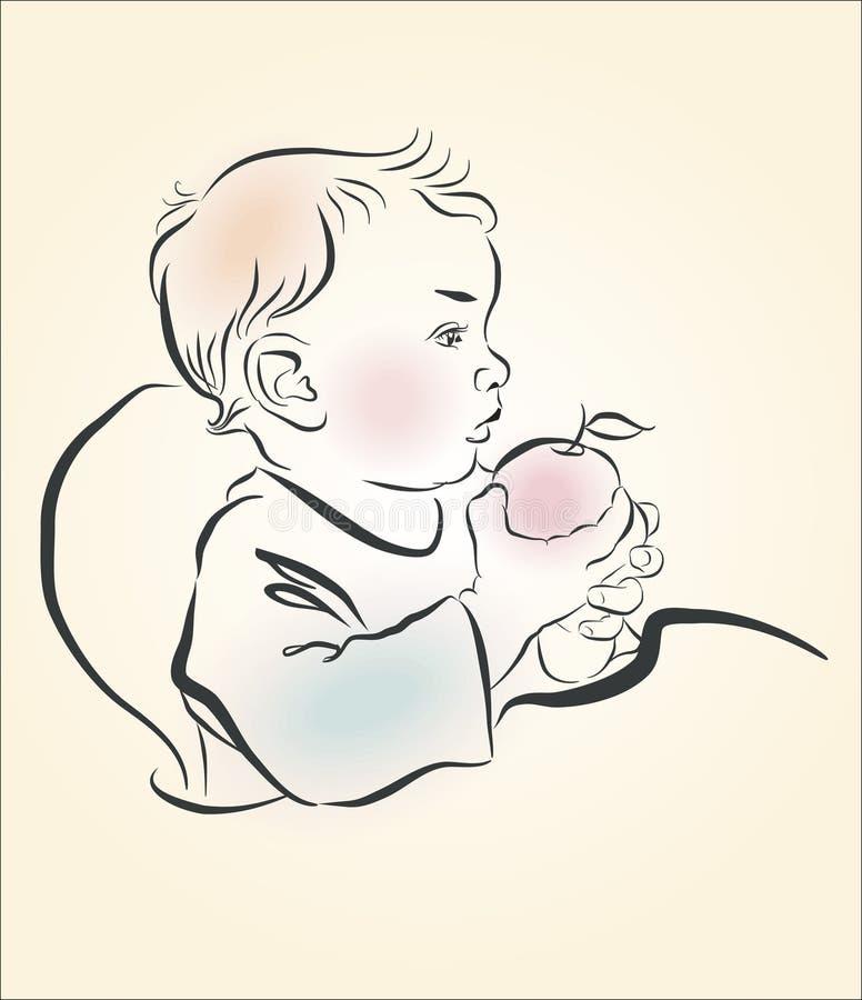 Vector illustration. A child eats an apple vector illustration