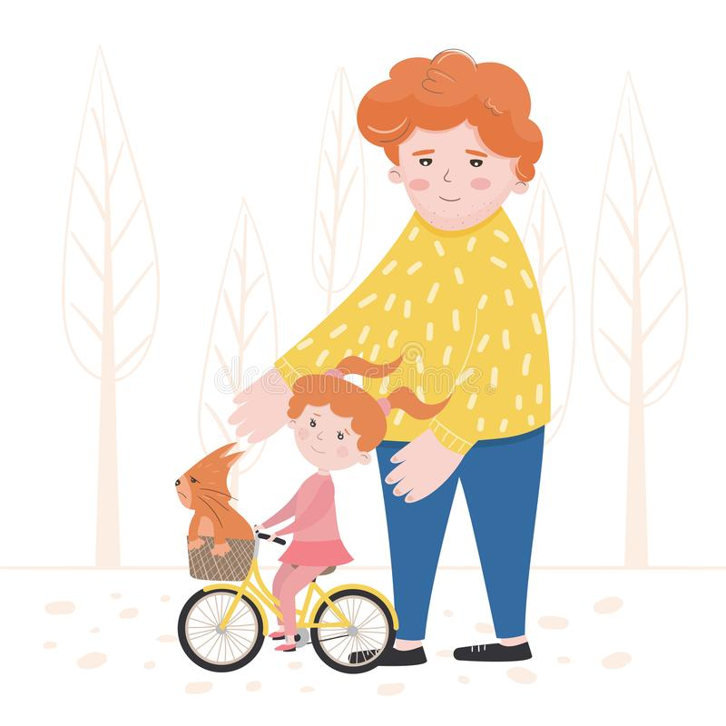 Vector illustration of a child learning to ride a bike stock illustration