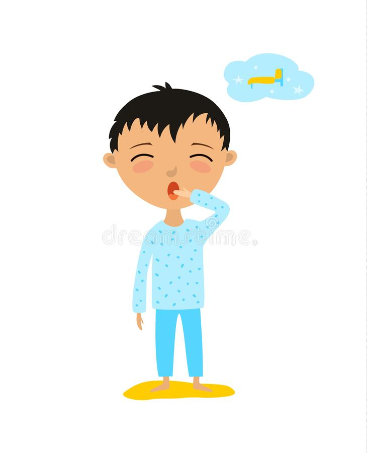 Vector illustration of a child who wants to sleep. The boy yawns royalty free illustration