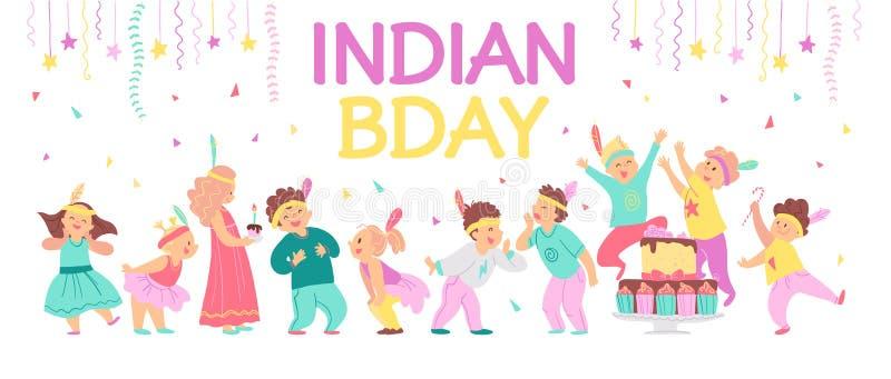 Vector illustration of children birthday Indian party. Happy boys & girls celebrating, bd cake, garland, confetti, feathers decor vector illustration