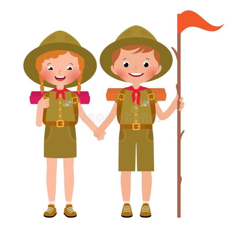 Vector illustration of children boy and girl scouts. Vector illustration of children scouts boy and girl isolated on white background royalty free illustration