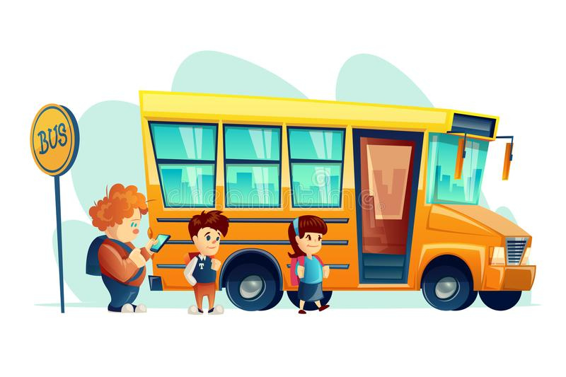 Vector illustration of children get on school bus on the stop sign. Transportation pupil. Banner for internet, design. vector illustration