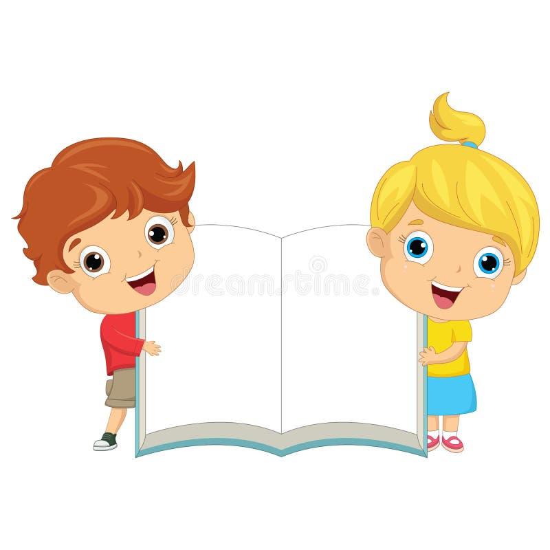 Vector Illustration Of Children Keeping Book. Eps 10 stock illustration