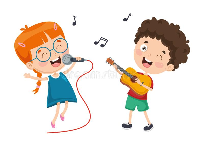 Vector Illustration Of Children Music stock illustration