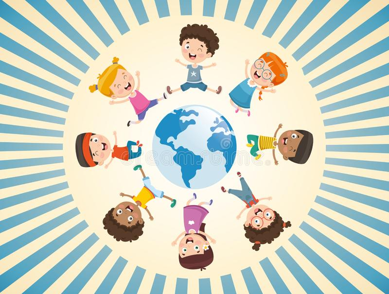 Vector Illustration Of Children Playing Around The World. Eps 10 stock illustration
