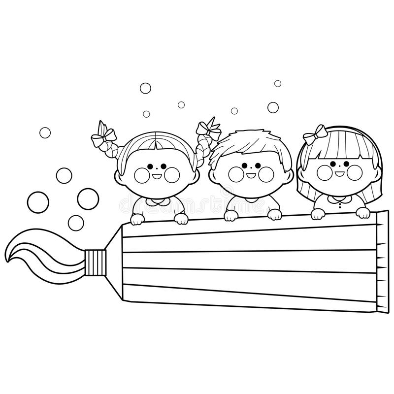 Kids Holding A Big Toothpaste. Coloring Book Page Stock Vector ...