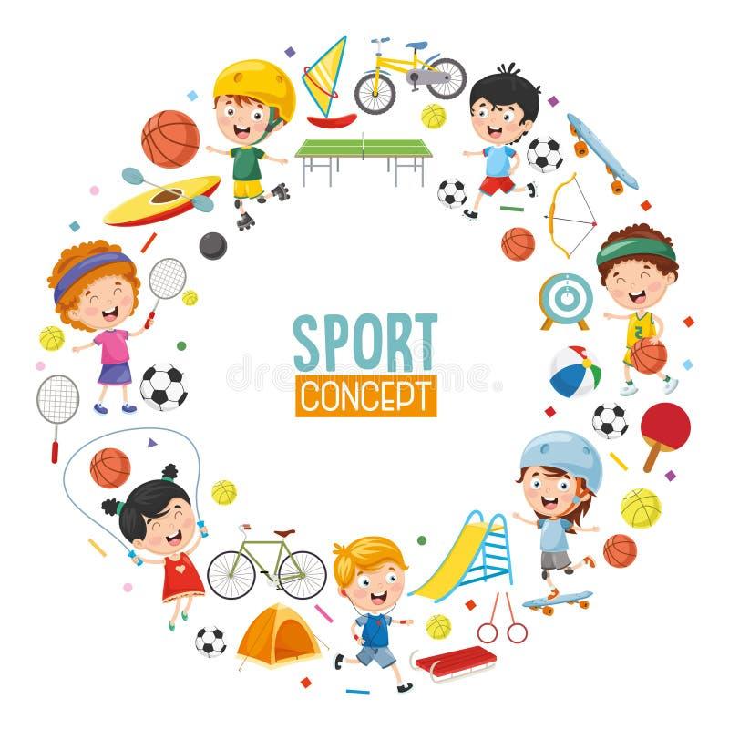 Vector Illustration Of Children Sports Concept Design royalty free illustration