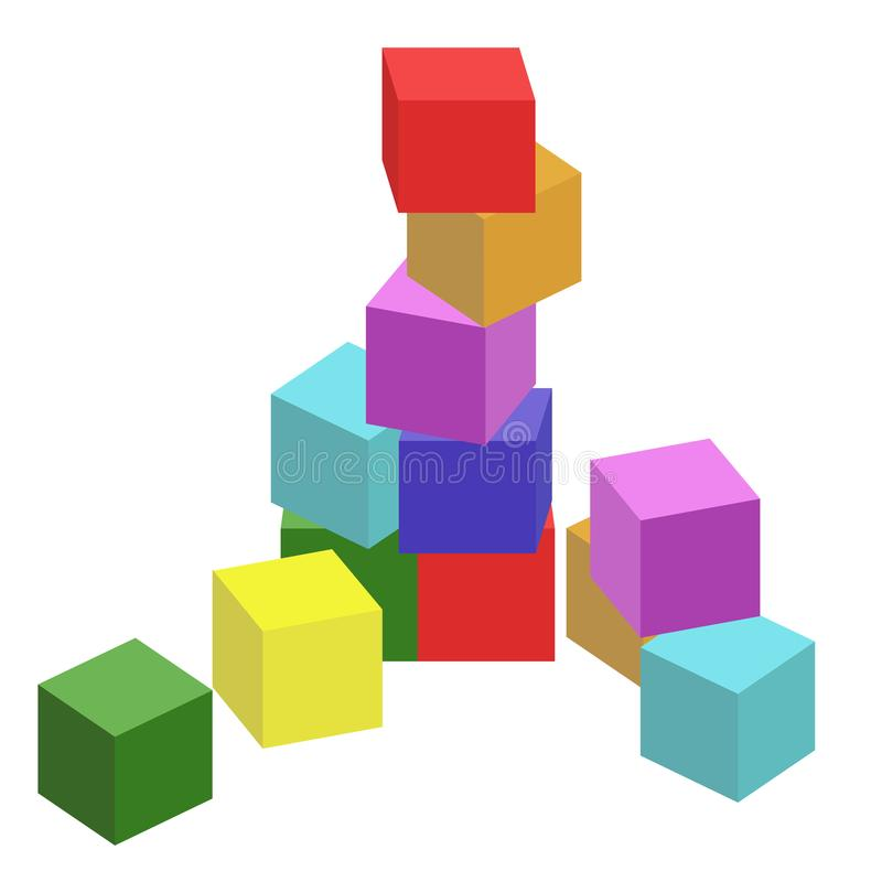 Vector illustration of children toys, cubes royalty free stock image