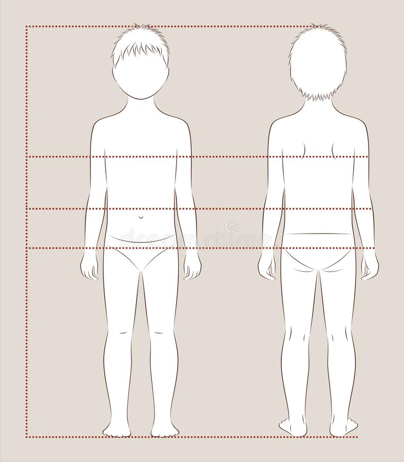 Child body measurements royalty free illustration