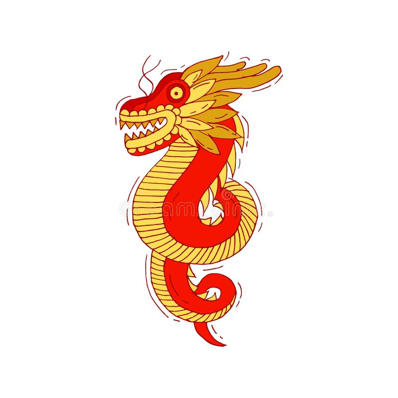 Vector illustration chinese red and golden dragon on white background. Hand drawn sketch for decorative design of Asian stock illustration