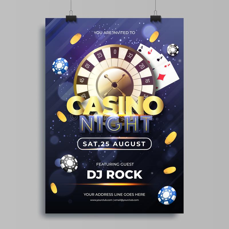 Vector illustration of chips, coins, playing cards and roulette for Casino night template. royalty free illustration
