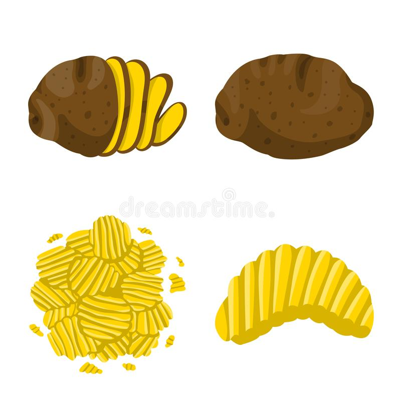 Vector design of chips and crisp icon. Collection of chips and food vector icon for stock. stock illustration
