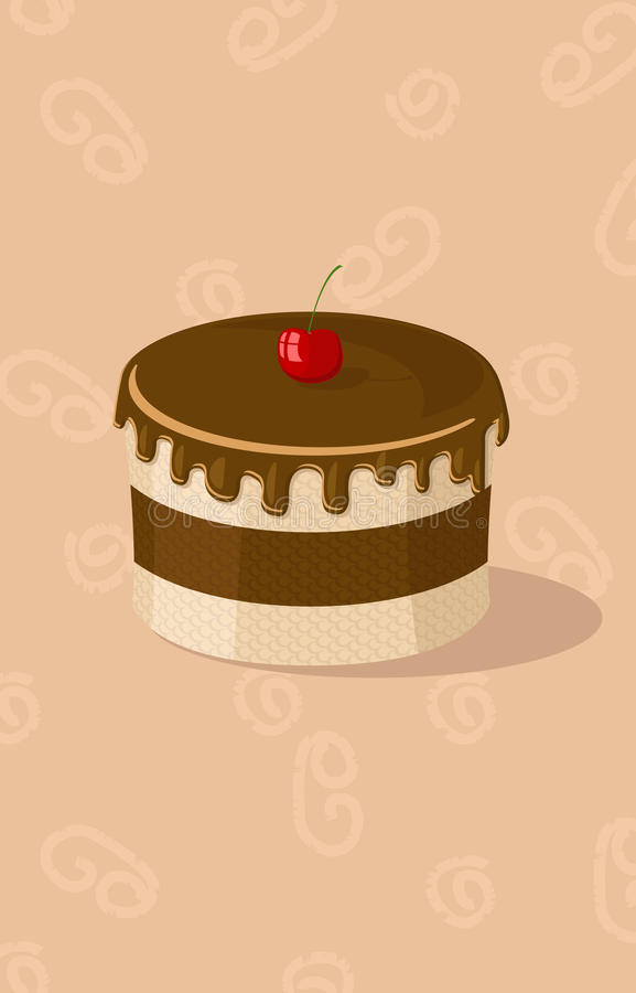 Vector Illustration Of Chocolate Cake Royalty Free Stock Images