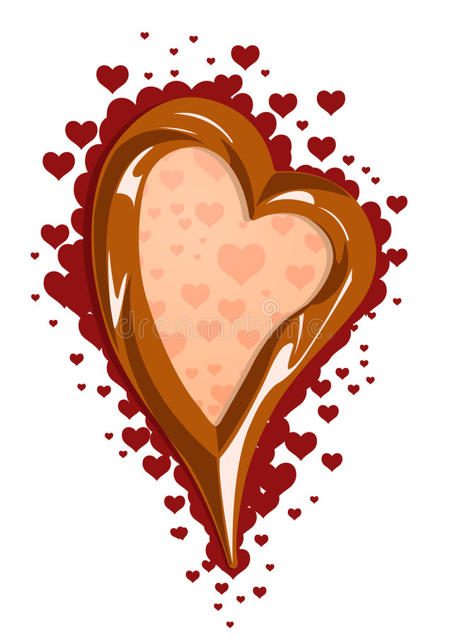 Vector illustration of chocolate heart frame