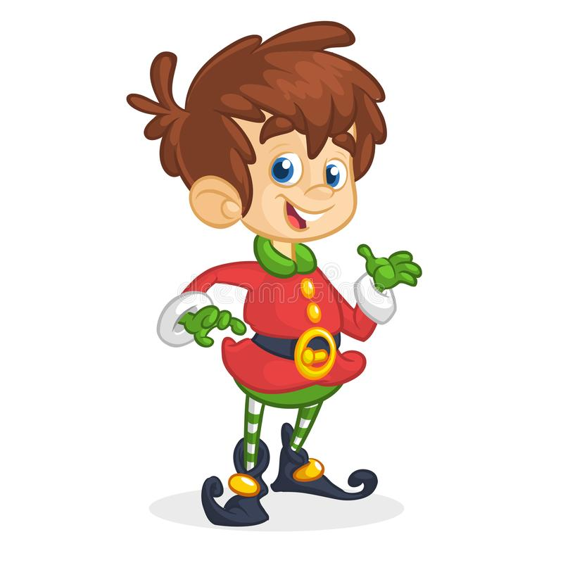 Vector illustration of Christmas boy elf cartoon. Cute Happy Dwarf Santa Helper Presenting. vector illustration