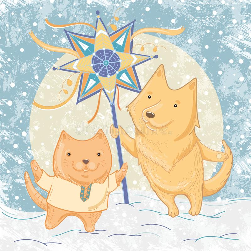 Vector illustration of Christmas carols with dog and cat stock illustration