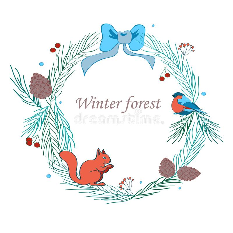 Vector illustration, Christmas frame with forest and celebratory elements. Branches of fir, cones, bullfinch, squirrel royalty free illustration