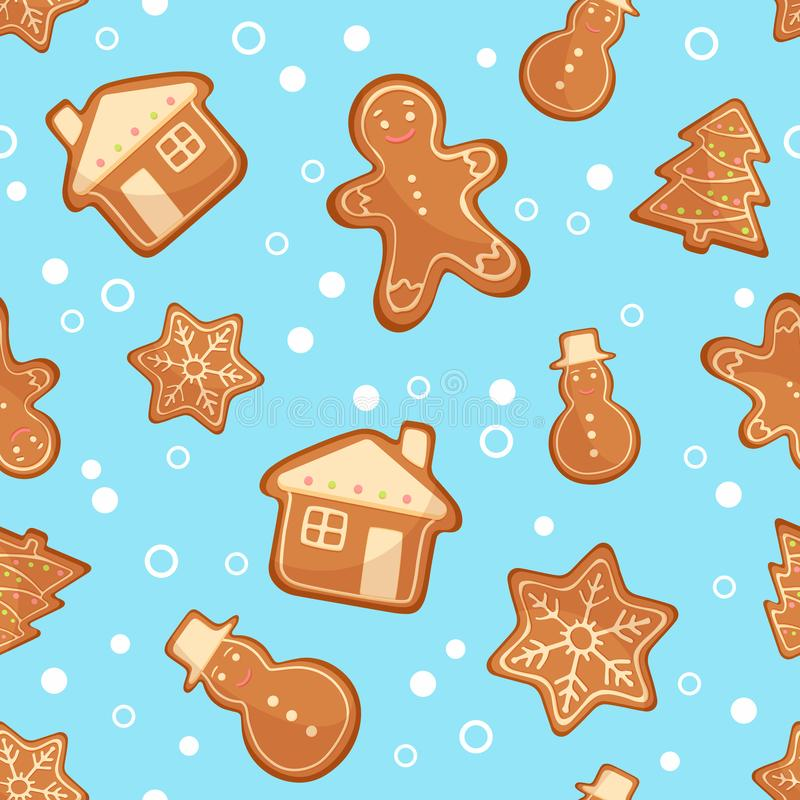 vector illustration christmas gingerbread cookies seamless pattern ginger blue background cute xmas wallpaper gift paper 104778326