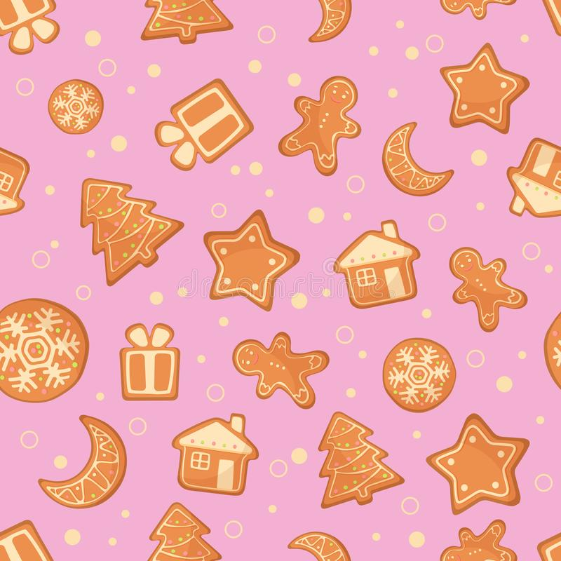 Vector Illustration of Christmas gingerbread cookies seamless pattern. Ginger cookies on pink background. vector illustration