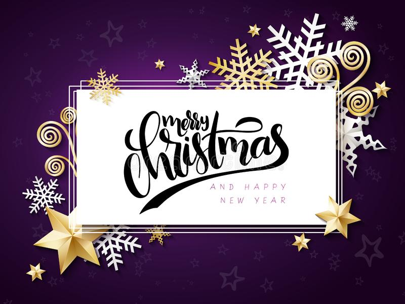 Vector illustration of christmas greeting card with hand lettering label - merry christmas - with stars, sparkles. Snowflakes and swirls vector illustration