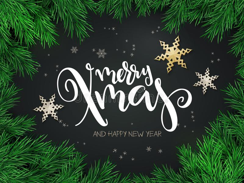 Vector illustration of christmas greeting card with hand lettering label - merry xmas - with stars, fir-tree branches. And snowflakes stock illustration
