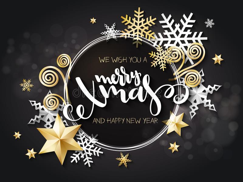 Vector illustration of christmas greeting card with hand lettering label - merry xmas - with stars, sparkles, snowflakes. And swirls vector illustration