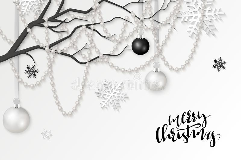 Vector illustration of christmas greeting card template with hand lettering label - merry christmas - with realistic. Branch, beads, hanging christmas baubles stock illustration