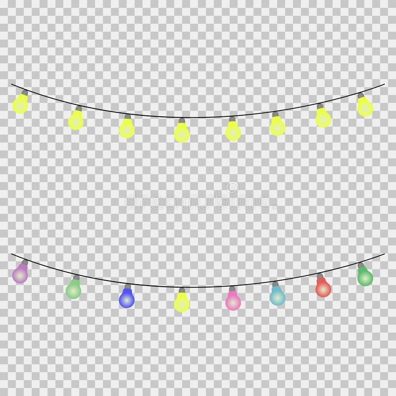 Vector illustration for christmas lights colorful lights party Winter celebration stock illustration