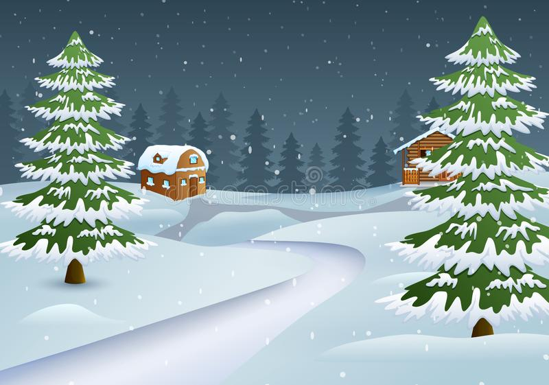 Christmas night scene with a snowy wooden house and fir trees. Vector illustration of Christmas night scene with a snowy wooden house and fir trees stock illustration