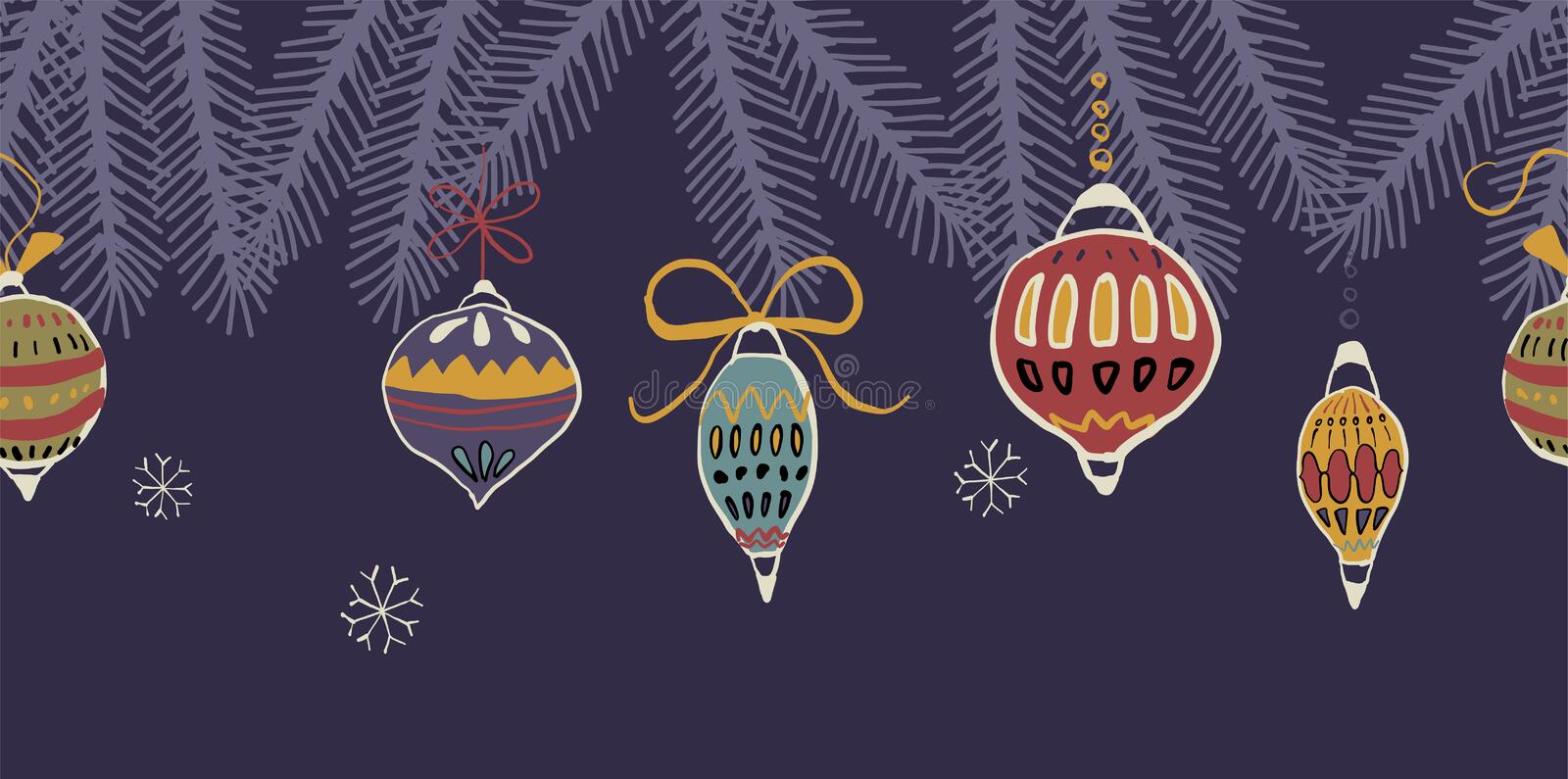 A Vector Illustration of Christmas Ornaments vector illustration