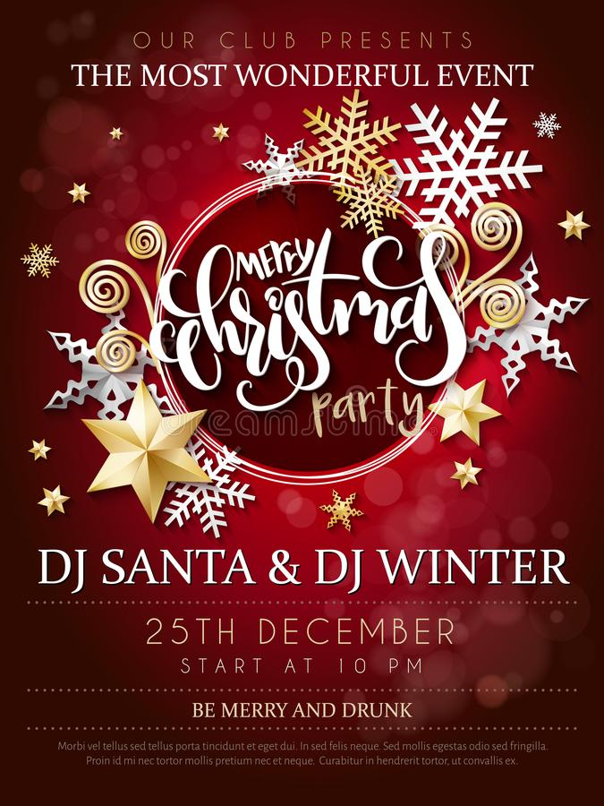 Vector illustration of christmas party poster with hand lettering label - christmas - with stars, sparkles, snowflakes. Vector illustration of christmas party stock illustration