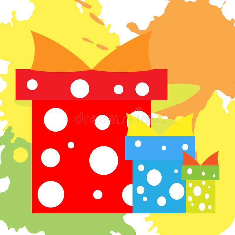 Christmas presents blue and red. on colored abstract spots stock illustration
