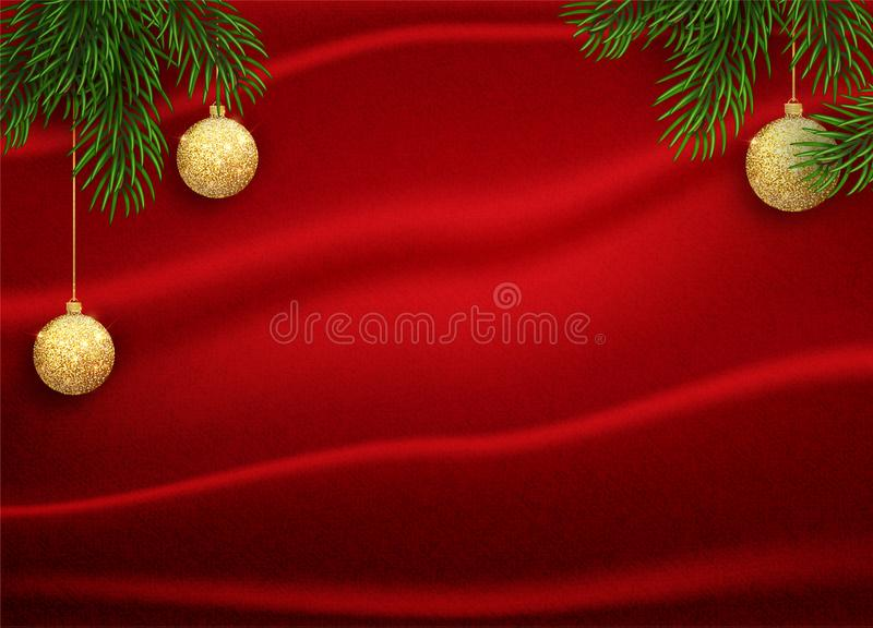 Vector illustration of christmas red background with christmas gold glitter ball gold and red colour. royalty free illustration