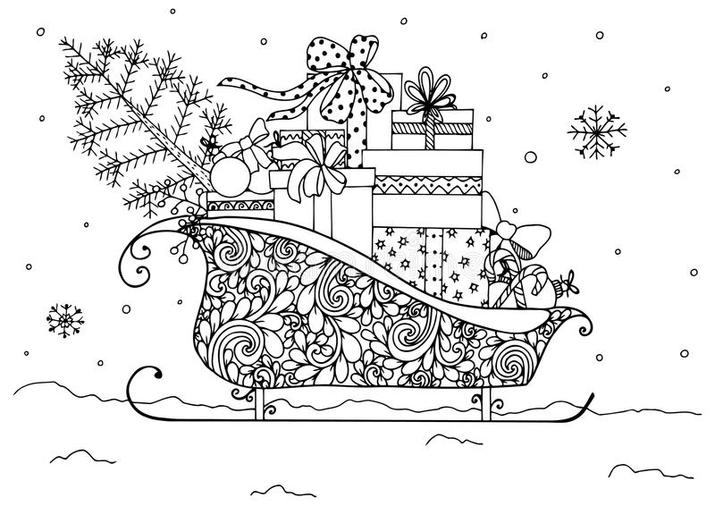 Vector illustration of Christmas, Santa`s sleigh full of presents. stock illustration