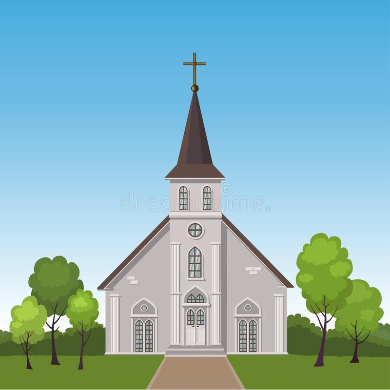 Church standing on a lawn surrounded by trees. Vector illustration of church standing on a lawn surrounded by trees stock illustration