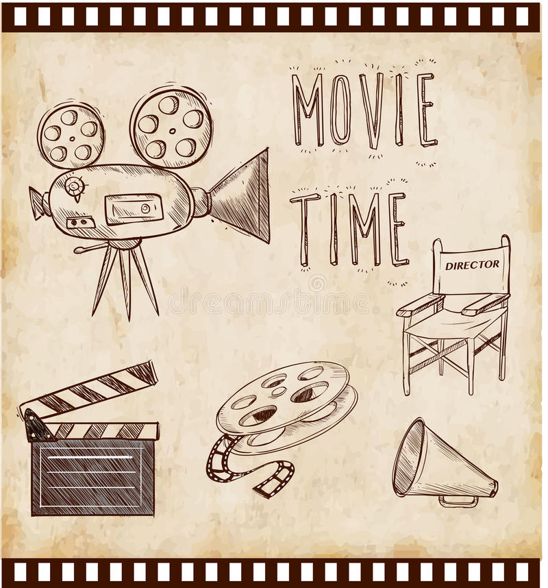 Vector illustration cinema icon. Set with director chair cinema flap retro movie projector royalty free illustration
