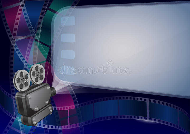 Vector illustration for the cinema. Movie projector and movie screen, and cine-film on colorful background vector illustration