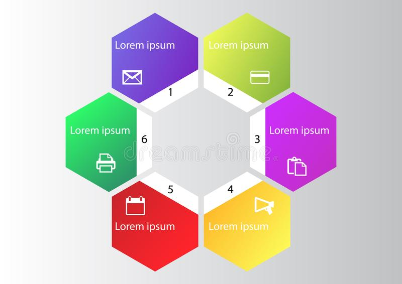 Marketing infographic, cycle diagram, global business graph, presentation chart. 1,2, 3, 4, 5, 6, options, parts, steps, process. stock illustration
