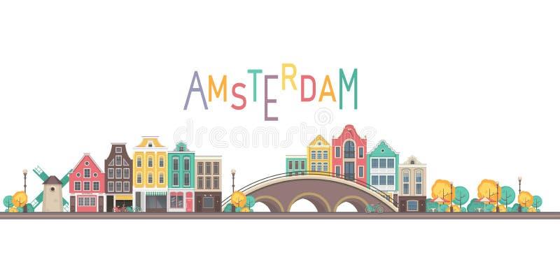 Vector city amsterdam. Vector illustration city buildings street near bridge city amsterdam on white background vector illustration