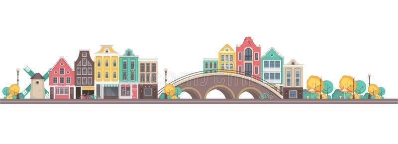 Vector city amsterdam. Vector illustration city buildings street near bridge city amsterdam on white background royalty free illustration