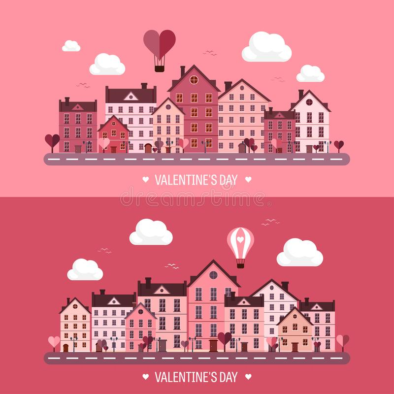 Vector illustration. City with hearts. Love valentines day. 14 february. Cityscape town. vector illustration