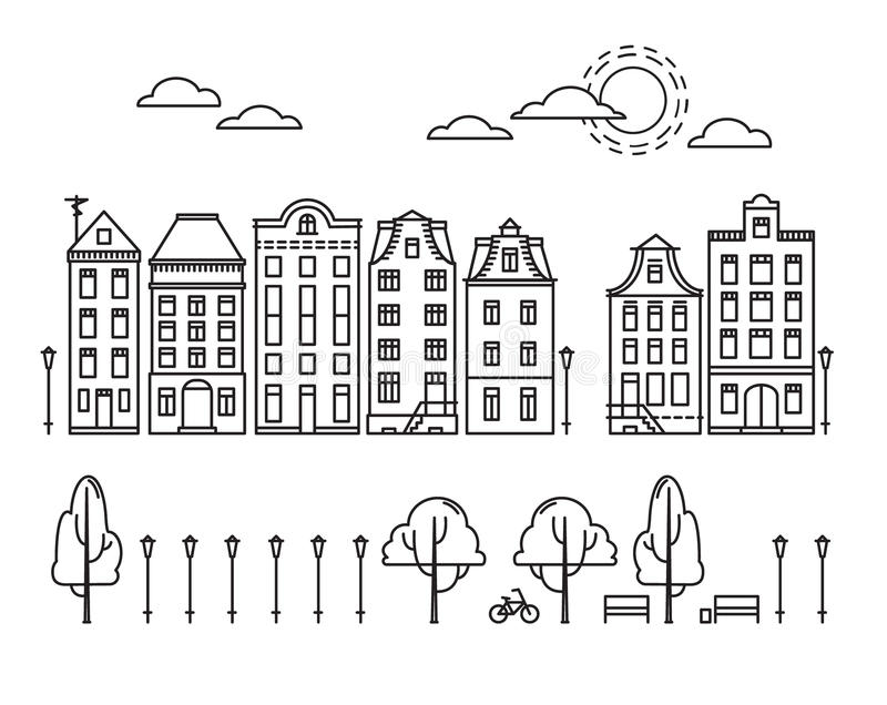 Vector illustration - City in linear style with trees and clouds royalty free illustration