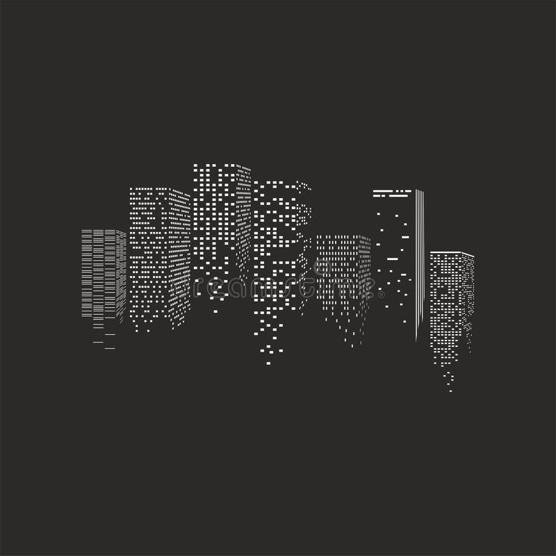 Vector illustration of city. Vector illustration of night city - skyscrapers over the black background vector illustration