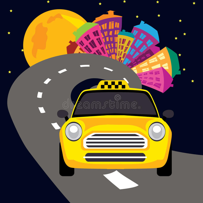 Vector illustration of city nightlife and a taxi stock illustration