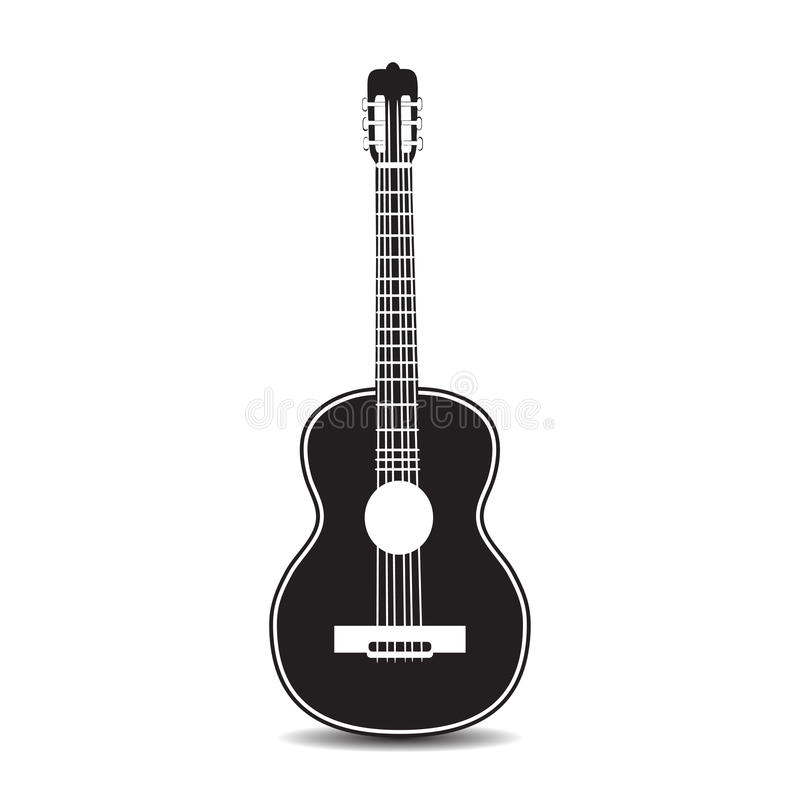 Vector illustration of classic guitar in flat style stock photos
